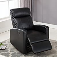 Christies Home Living Modern Leather Infused Small Power Reading Recliner Chair with USB Port, Black
