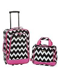 ROCKLAND F102-PINKCHEVRON 2 Piece Expandable Luggage Set, Pink Chevron, One Size