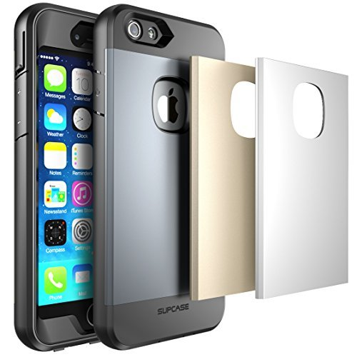 iPhone 6 Plus Case, SUPCASE Water Resist Full-body Protection Heavy Duty Case with Built-in Screen Protector and 3 Interchangeable Covers for Apple iPhone 6 Plus - Space Gray/Silver/Gold