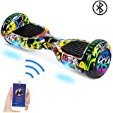 """SISIGAD Hoverboard Self Balancing Scooter 6.5"""" Two-Wheel Self Balancing Hoverboard with Bluetooth Speaker and LED Lights Electric Scooter for Adult Kids Gift UL 2272 Certified - Graffiti"""