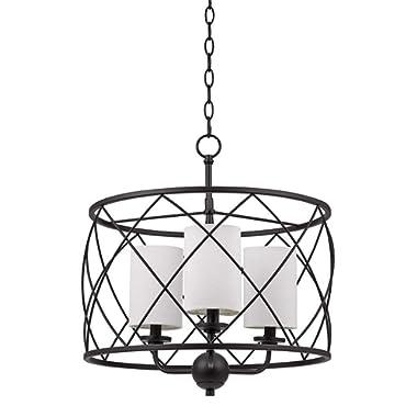 Stone & Beam Industrial Modern Dark Bronze Pendant 21.25  H, With  Bulbs, Off-White Shades