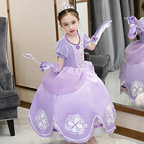 3 otters Princess Dress Up, Princess Costume Accessories Childrens Crown Magic Wand Gloves Necklace Earring Set Party Dress Up Girl Gift Purple 6PCS