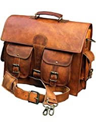 Handolederco Leather Unisex Real Leather Messenger Bag for Laptop Briefcase Satchel Vintage Style Genuine Leather...