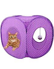HEEPDD Katzentunnel, zusammenklappbares Katzewürfel Oxford-wasserdichtes Punkt-Zelt interaktiver Hide-Tunnel, der Spielwaren für Katzen Kätzchen-Miezekatze spielt