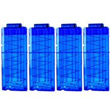 Bullet Clips, Yamix 4 Pack 12 Bullets Dart Gun Clips Ammo Cartridge Magazine Clip For Nerf N-Strike Elite Blaster Kid's Toy Gun - Transparent Blue