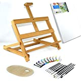 25 pcs Set 28 Easel, 30x40cm canvas A3, Watercolour Paints 10x12ml, 12 Brushes, Pelette - Painting Kit by Quantum Art