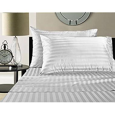 Damask Stripe 100% Supima Cotton 500 Thread Count Hotel Quality Supima Luxury Cotton Sateen Deep Pocket Super Soft Sheet Set, King - White