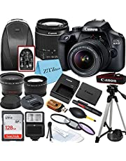 Canon EOS 4000D / Rebel T100 DSLR Camera with EF-S 18-55mm Lens + 128GB SanDisk Memory Card, Tripod, Flash, Backpack + ZeeTech Accessory Bundle