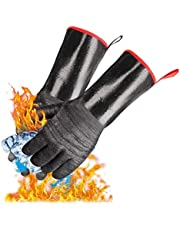 Barbecue Gloves, Heat-Resistant Oven Gloves, Cooking Grill Gloves, Perfect for Grilling, Cooking, Baking, Grilling-Waterproof and Fireproof (14 inches)
