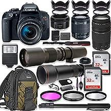 Canon EOS Rebel T7i - Cámara réflex digital con lente de 0.709-2.165in + lente Canon EF 2.953-11.811in III, lente Canon 1.969in f/1,8, lente de 19.685in y lente de 650 a 51.181in + mochila Canon + memoria de 64 GB + monopié + paquete profesional