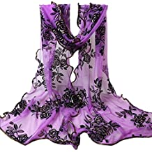 Lookatool Women Flower Printing Lace Scarf Long Soft Wrap Shawl Stole Pashmina