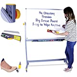 Rolling Whiteboard Easel - Mobile Whiteboard on Wheels - Rolling White Board with Stand - Dry Erase Board 48 x 36
