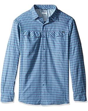 Men's Big-Tall Silver Ridge Plaid Long Sleeve Shirt, Oxygen, Large