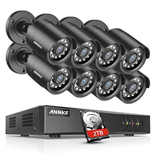 ANNKE 16-Channel 1080P Lite DVR Security System with 1TB Hard Drive and 8X 1280TVL 1MP Outdoor Weatherproof Bullet Cameras, Mobile Remote Access, Live Viewing