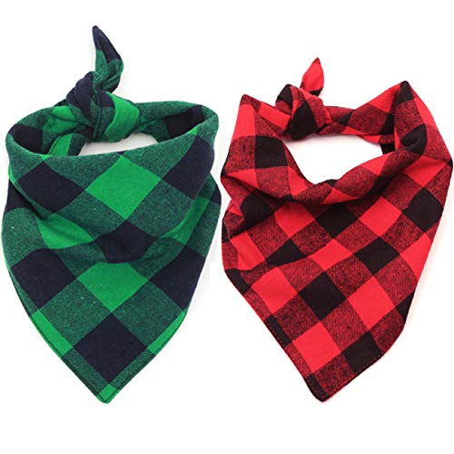 Malier 2 Pack Dog Bandana Christmas Classic Plaid Pet Bandana Scarf Triangle Bibs Kerchief Set Pet Costume Accessories Decoration for Small Medium Large Dogs Cats Pets ()