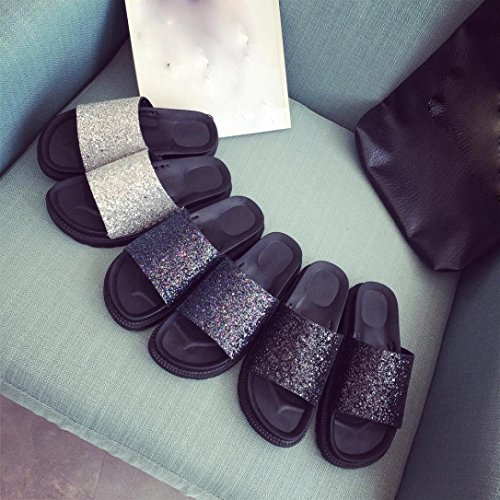 Byste Beach Slipper Summer Sandals Wedge Platform Shoes Home Casual Bath Shower Outdoor Indoor Comfortable Wear Bling Sequins Women Flat with Slides Flip Flop Non-Slip Beach Shoes Black uOuyupIqd