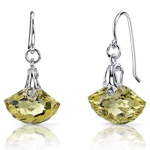 Spectacular Shell Cut 8.00 carats Lemon Quartz Fishhook Earrings Sterling Silver Rhodium Nickel Finish (Shell Spectacular)