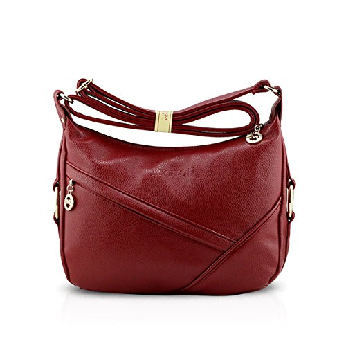 Wine Bag PU Tote Satchel Leather Crossbody NICOLE Travel Hobo Red Handbags Black Shoulder Bag Purse amp;DORIS Women Sw7Tpqga
