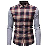 NUWFOR Men's Long Sleeve Lattice Painting Large Size Casual Top Blouse Shirts(Khaki,L US Chest:44.9''