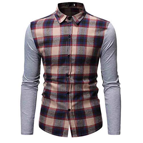 Men's Long Sleeve Lattice Painting Large Size Casual Top Blouse Shirts Khaki