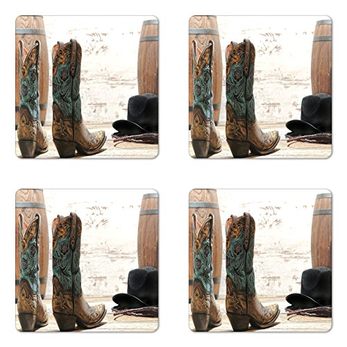 (Lunarable Western Coaster Set of Four, American Rodeo Theme Cowgirl Design Leather Boots Fancy Hat Rustic Picture, Square Hardboard Gloss Coasters for Drinks, Brown Teal Black)