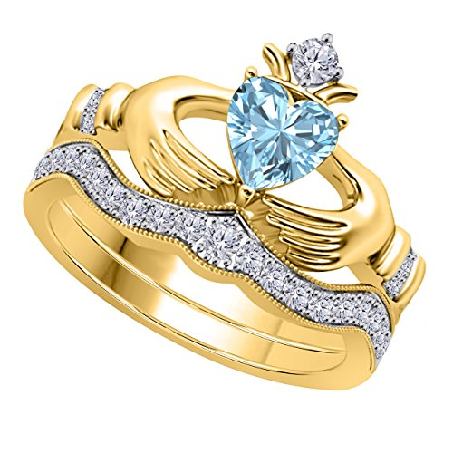Women's 14k Gold Rhodium Plated Alloy White/Yellow/Rose/Black 1.00CT Heart Cut Created Aquamarine & Cubic Zirconia Round Wedding Band & Crown Engagement Claddagh Bridal Ring Set Jewelry
