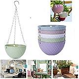 Dproptel 5 Pack Hanging Planter Basket Indoor/Outdoor Hanging Flower Pots Plants Holder Hanger Weave Pattern Design with Chain Hooks for Home Decor - 5 Colors