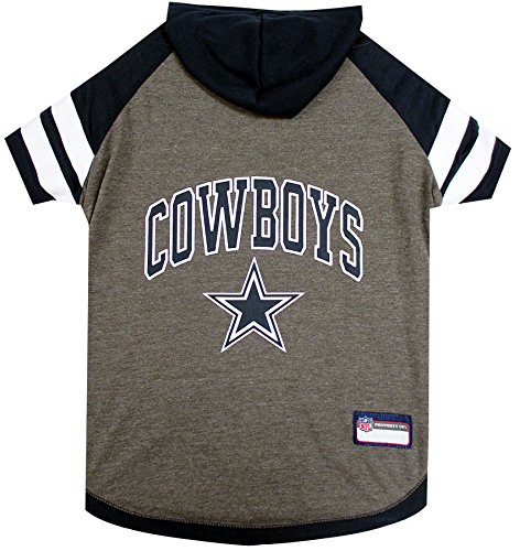 NFL Dallas Cowboys Hoodie for Dogs & Cats. | NFL Football Licensed Dog Hoody Tee Shirt, X-Small | Sports Hoody T-Shirt for Pets | Licensed Sporty Dog -
