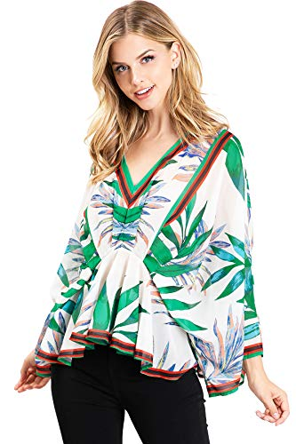 Flying Tomato Women's Boho Blouse w Kimono Sleeves (M, Green) (Flying Tomato Blouse)