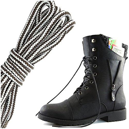 Dailyshoes Womens Militaire Lace Up Gesp Combat Laarzen Rits Sweater Enkel Hoge Exclusieve Creditcard Zak, Donker Bruin Grijs Zwart Pu