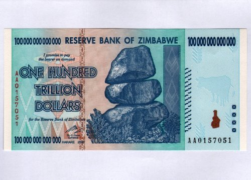 Zimbabwe $100 Trillion Dollar Note