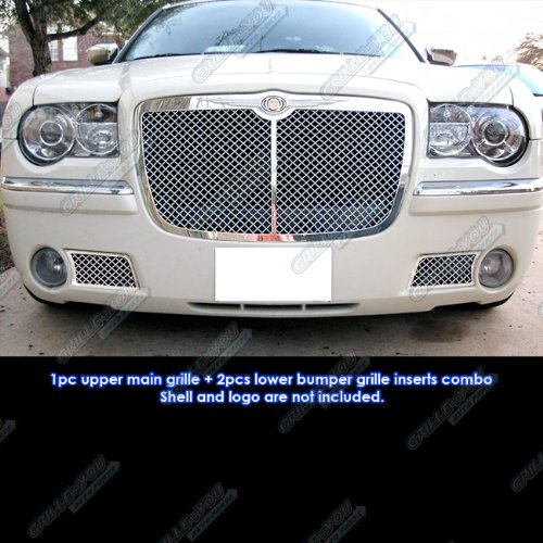 (APS Compatible with 05-10 Chrysler 300C Stainless Mesh Grille Combo Insert R71069W)
