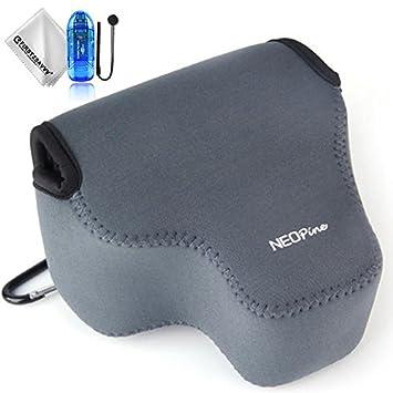 First2savvv gris Funda Cámara Reflex Neopreno Protectora para Sony Alpha a6500 ILCE-6500 (16-70mm lens) + Lector de tarjetas SD + Paño de limpieza + ...
