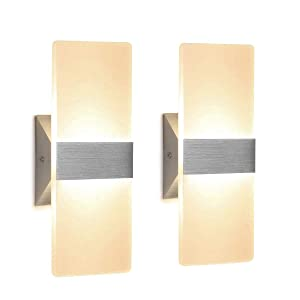 DASINKO Modern Wall Sconce 12W, Set of 2 LED Wall Lamp Warm White, Acrylic Material Wall Mounted Wall Lights