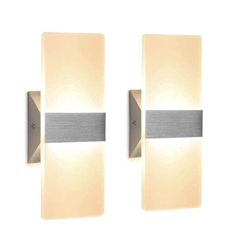 Modern Wall Sconce 12W, Set of 2 LED Wall Lamp Warm White, Acrylic Material  Wall Mounted Wall Lights