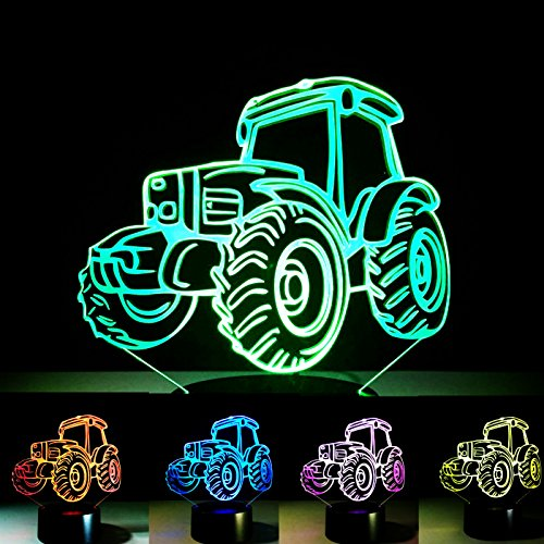New 3D Car Tractor Night Light Touch Switch Table Desk Optical Illusion Lamps 7 Color Changing Lights LED Table Lamp Xmas Home Love Brithday Children Kids Decor Toy Gift