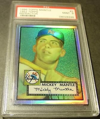 - Finest Refractor 1996 Mickey Mantle 1952 Topps PSA 9