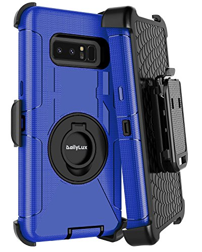 Dailylux Galaxy Note 8 Case,Note 8 Case Belt Clip Heavy Duty Shockproof Swivel Belt Clip Rugged Bumper Hybrid With Kickstand Holster Protective Cover Case for Samsung Galaxy Note 8-Black+Blue