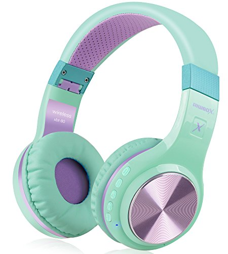 Bluetooth Headphones, Riwbox XBT-80 Foldable Stereo Wireless Bluetooth Headphones Over Ear with Microphone and Volume Control, Wireless and Wired Headset for PC/ Cell Phones/ TV/ Ipad (Purple Green)