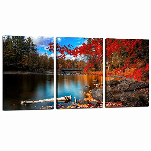 sechars - 3 Panel Canvas Wall Art Autumn Scenery Landscape Canvas Prints Red Maple by Lake Picture Painting Artwork for Home Living Room Bedroom Wall Decor Canvas Stretched Ready to Hang