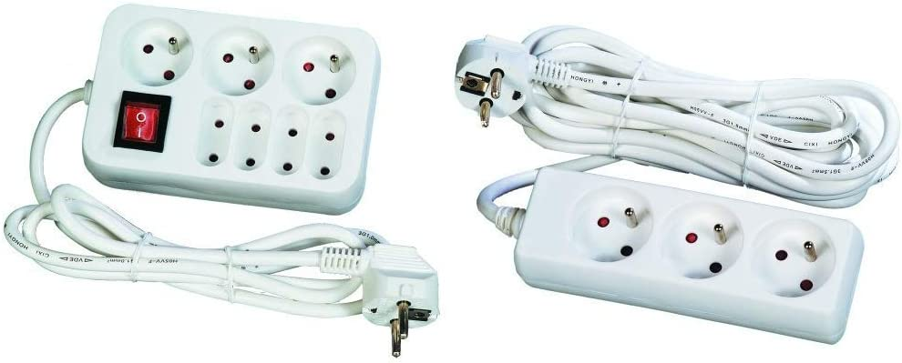 T 10 // 16A 4 prises 6A Interrupteur cordon 1,5 m Voltman DIO013037 Bloc 3 pises 2P