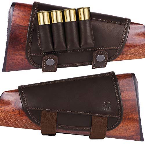 BronzeDog Waterproof Genuine Leather Ammo Holder Neoprene Padded Buttstock Cheek Rest Adjustable Shotgun Stock Hunting Accessories .30-30 .308 Caliber or 12 Gauge (Brown 12 ga)