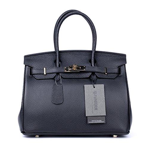 QZUnique Women's Cowhide Genuine Leather Fashion Zipper Buckle Belt Metalic Top Handle Bag Black 35cm by QZUnique