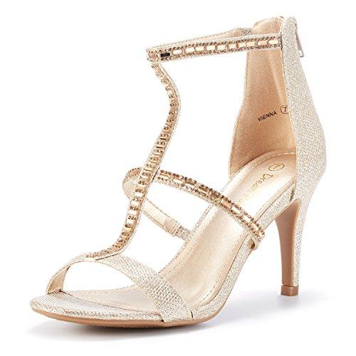 DREAM PAIRS Women's Vienna Gold Glitter Fashion Stilettos Open Toe Pump Heeled Sandals Size 5 B(M) US