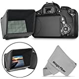 LCD Screen Sun Shield for DSLR Cameras and Camcorders Compatible with Canon EOS 70D Rebel T6i T6s T5i T4i T3i PowerShot SX60 SX50, Canon VIXIA FS100 FS200 HF10 HG20 HF100 and Nikon D5200 D5100