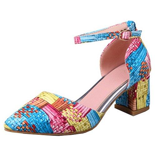 TAOFFEN Mujer Sandalias Moda Tacon Ancho Tacon Medio Al Tobillo Zapatos Azul