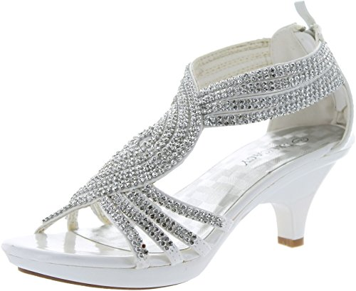 Delicacy Womens Angel-37 Strappy Rhinestone Dress Sandal Low Heel Shoes,White,6 -