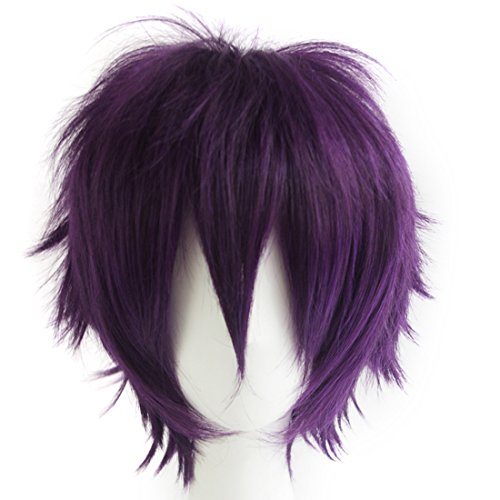 Alacos Unisex Deep Purple Daily Basic Short Hair Wig Cosplay Party+Wig Cap
