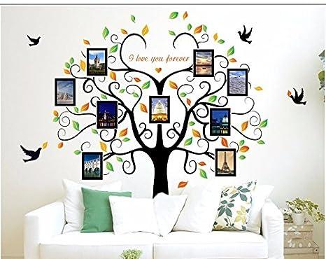 Vinilo Pegatina de pared arbol genealogico y hojas con marcos para fotos familia 2 m x 1.60