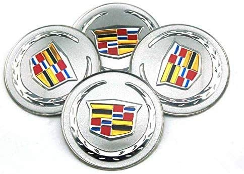 Silver compatible with Cadillac ATS CTS EXT SRX XTS XLR 4 pieces of car accessories with badge wheel cover sticker 65mm